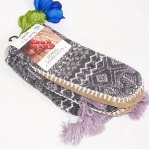Muk Luks Women's Slipper Socks with Purple Tassels